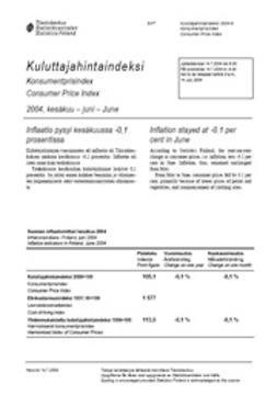 Suomen virallinen tilasto, Tilastokeskus - Kuluttajahintaindeksi 2004, kesäkuu, e-kirja