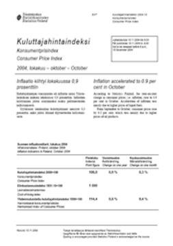 Suomen virallinen tilasto, Tilastokeskus - Kuluttajahintaindeksi 2004, lokakuu, e-kirja