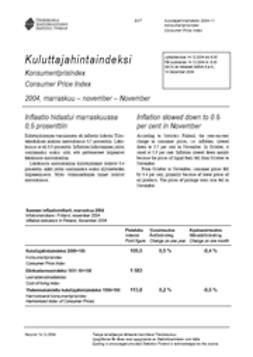 Suomen virallinen tilasto, Tilastokeskus - Kuluttajahintaindeksi 2004, marraskuu, e-kirja