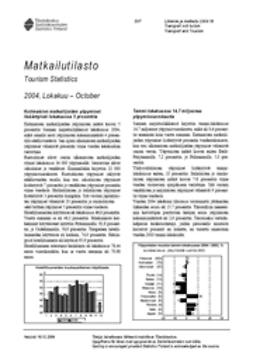 Suomen virallinen tilasto, Tilastokeskus - Matkailutilasto 2004, lokakuu, e-kirja