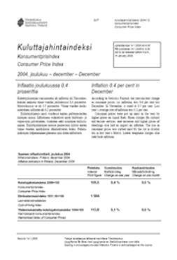 Suomen virallinen tilasto, Tilastokeskus - Kuluttajahintaindeksi 2004, joulukuu, e-kirja