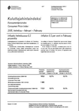 Suomen virallinen tilasto, Tilastokeskus - Kuluttajahintaindeksi 2005, helmikuu, ebook