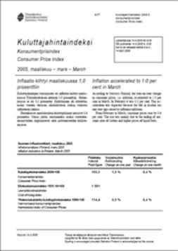 Suomen virallinen tilasto, Tilastokeskus - Kuluttajahintaindeksi 2005, maaliskuu, e-kirja