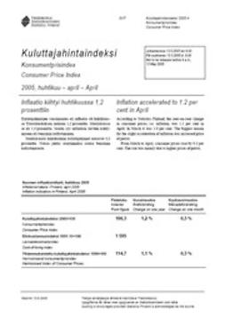 Suomen virallinen tilasto, Tilastokeskus - Kuluttajahintaindeksi 2005, huhtikuu, ebook