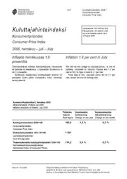 Suomen virallinen tilasto, Tilastokeskus - Kuluttajahintaindeksi 2005, heinäkuu, ebook