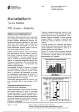 Suomen virallinen tilasto, Tilastokeskus - Matkailutilasto 2005, syyskuu, e-kirja