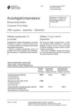 Kulutuksen ja asumisen hinnat, Tilastokeskus - Kuluttajahintaindeksi 2005, syyskuu, e-bok