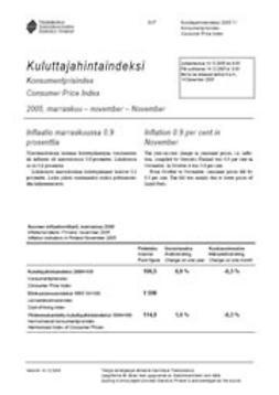 Kulutuksen ja asumisen hinnat, Tilastokeskus - Kuluttajahintaindeksi 2005 marraskuu, e-kirja