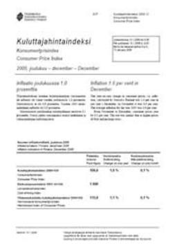 Kulutuksen ja asumisen hinnat, Tilastokeskus - Kuluttajahintaindeksi 2005 joulukuu, e-kirja