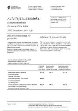 Tilastokeskus, Kulutus ja asuminen - Kuluttajahintaindeksi 2006, heinäkuu, e-kirja
