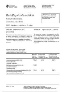 Tilastokeskus, Kulutus ja asuminen - Kuluttajahintaindeksi 2006, lokakuu, e-kirja