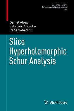 Alpay, Daniel - Slice Hyperholomorphic Schur Analysis, e-kirja