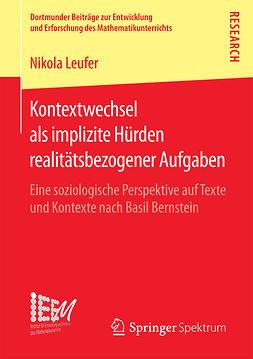 Leufer, Nikola - Kontextwechsel als implizite Hürden realitätsbezogener Aufgaben, ebook