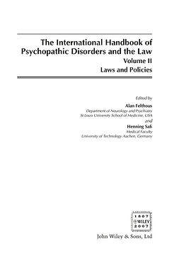 Felthous, Alan - International Handbook on Psychopathic Disorders and the Law, ebook