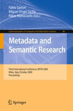 Manouselis, Nikos - Metadata and Semantic Research, ebook