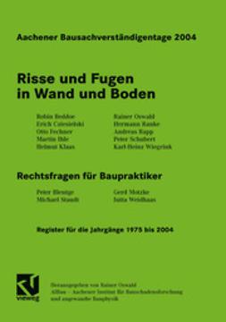 Oswald, Rainer - Aachener Bausachverständigentage 2004, ebook