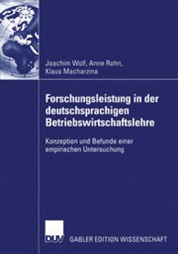 Wolf, Joachim - Forschungsleistung in der deutschsprachigen Betriebswirtschaftslehre, ebook