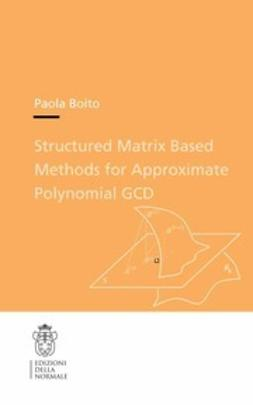 Boito, Paola - Structured Matrix Based Methods for Approximate Polynomial GCD, ebook