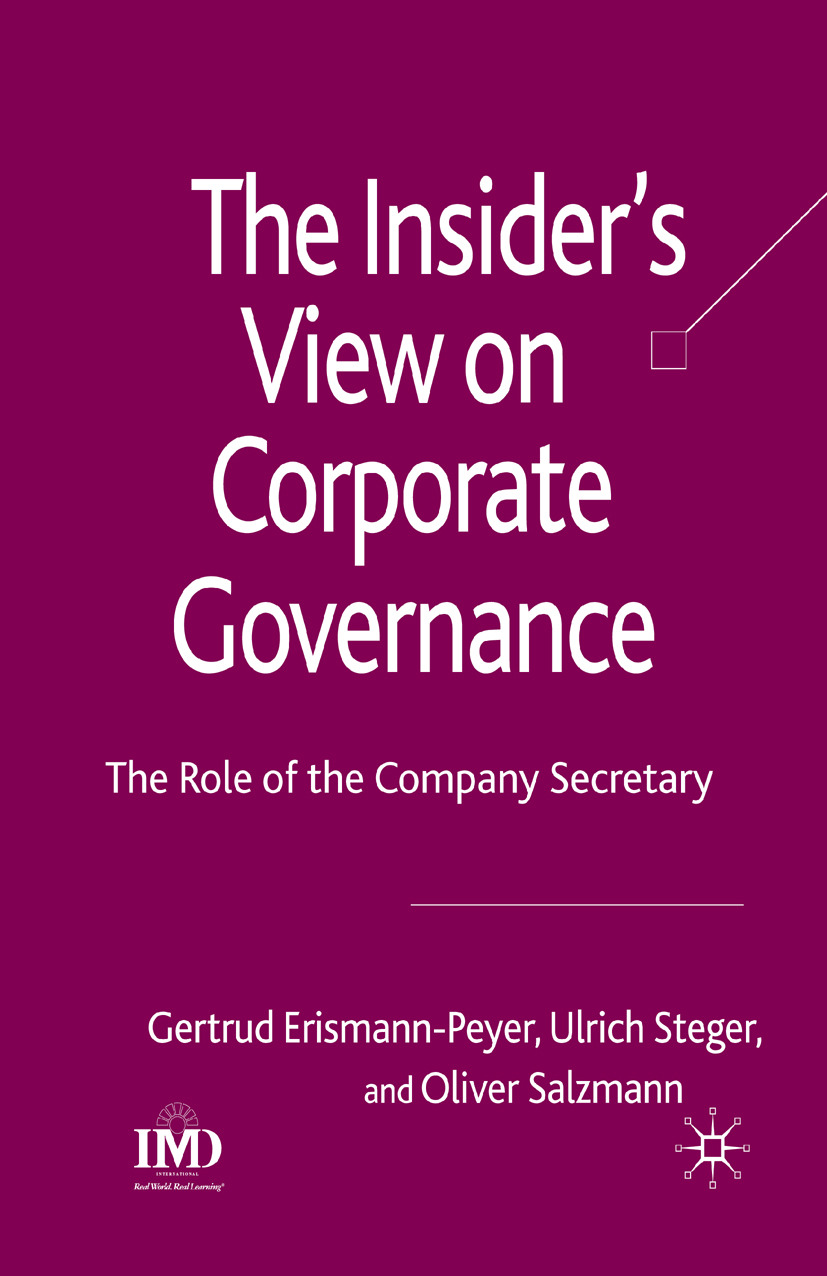 Erismann-Peyer, Gertrud - The Insider's View on Corporate Governance, ebook