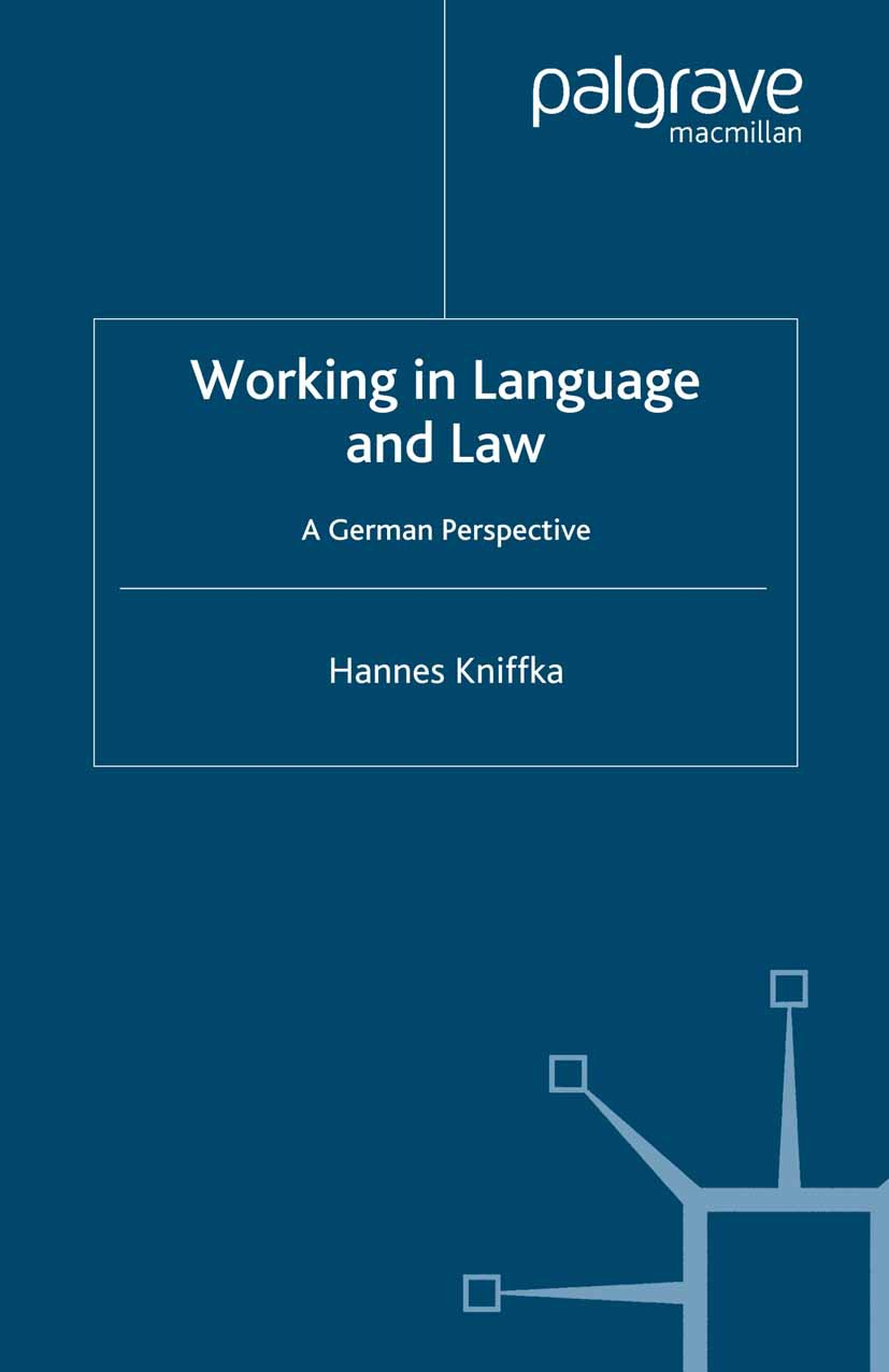Kniffka, Hannes - Working in Language and Law, ebook