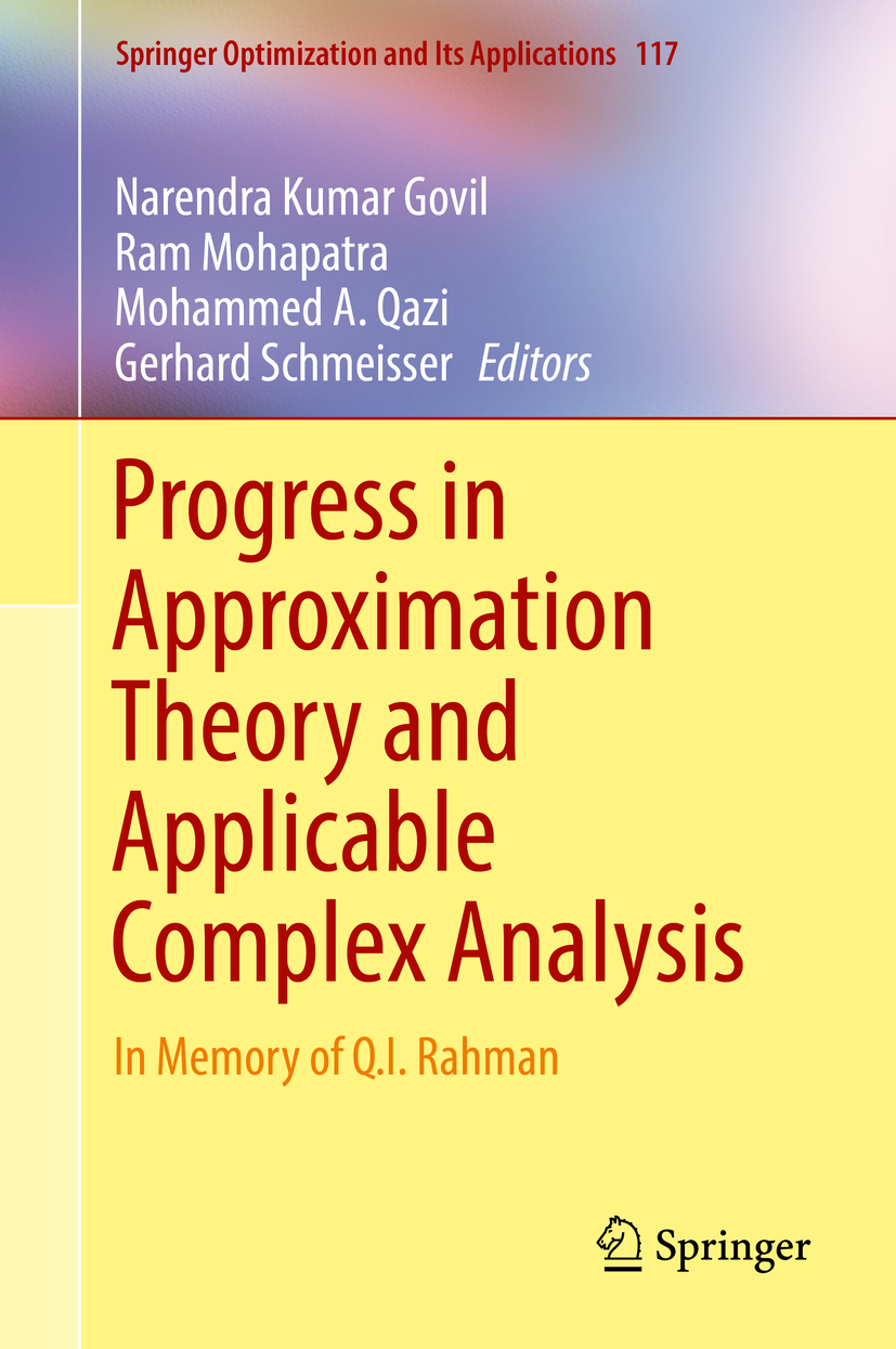 Govil, Narendra Kumar - Progress in Approximation Theory and Applicable Complex Analysis, ebook