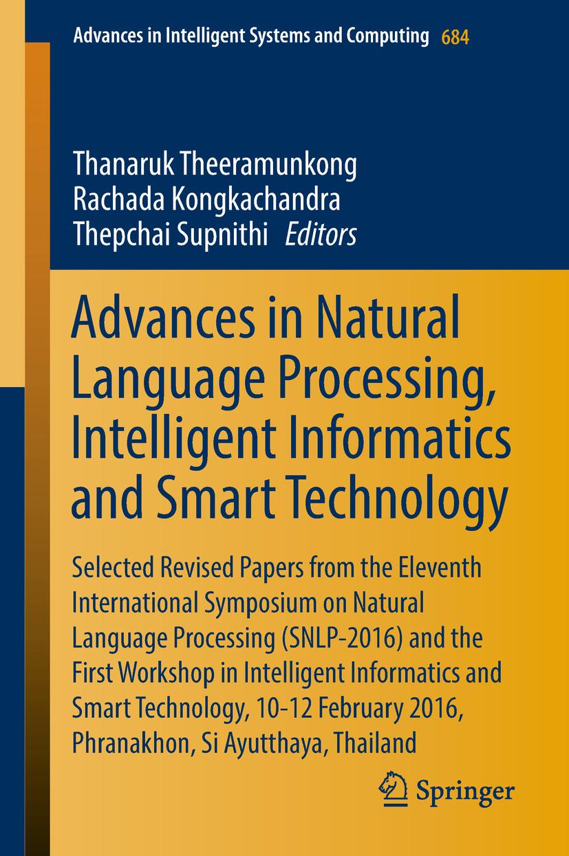 Kongkachandra, Rachada - Advances in Natural Language Processing, Intelligent Informatics and Smart Technology, ebook