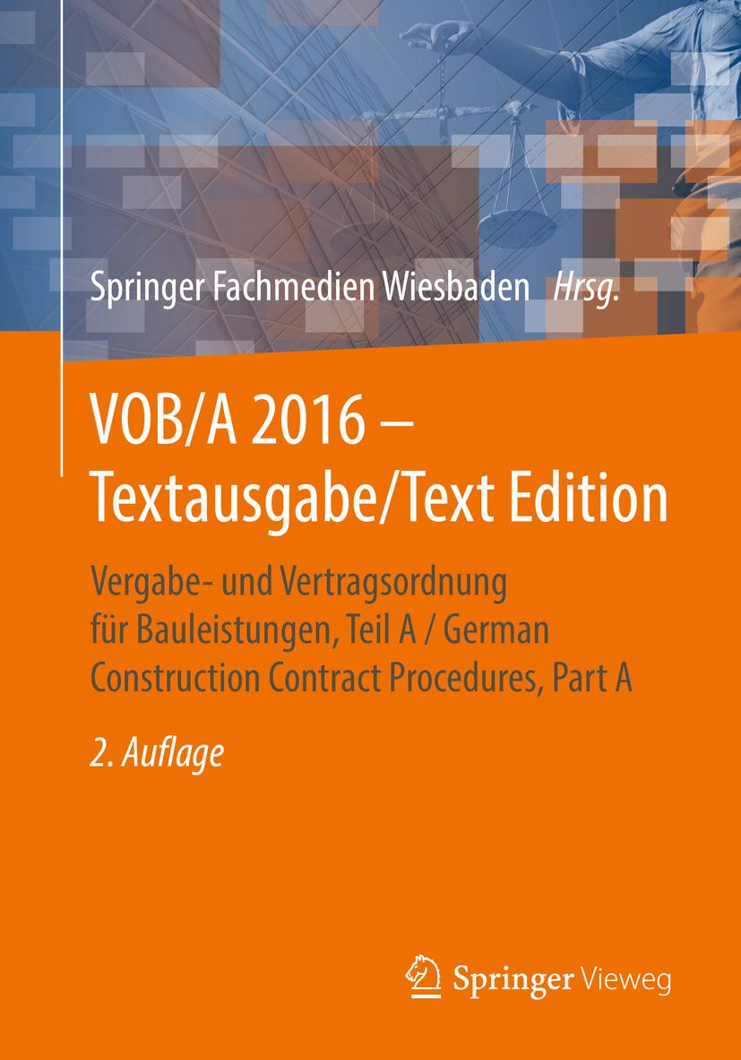 - VOB/A 2016 - Textausgabe/Text Edition, ebook