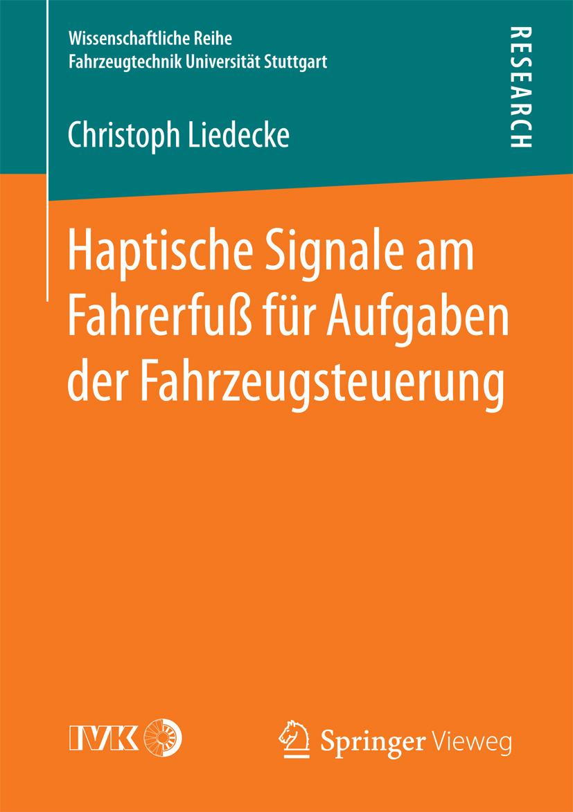 Liedecke, Christoph - Haptische Signale am Fahrerfuß für Aufgaben der Fahrzeugsteuerung, ebook