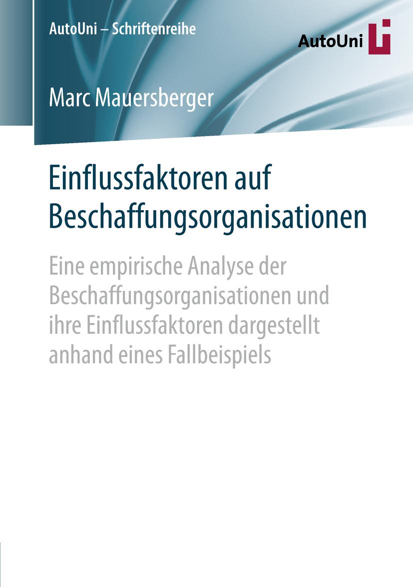 Mauersberger, Marc - Einflussfaktoren auf Beschaffungsorganisationen, ebook