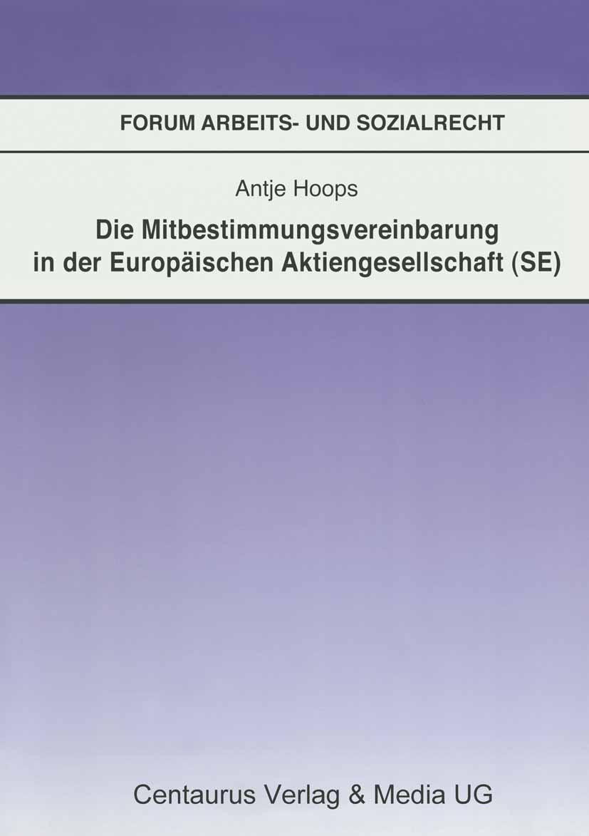 Hoops, Antje - Die Mitbestimmungsvereinbarung in der Europäischen Aktiengesellschaft (SE), ebook