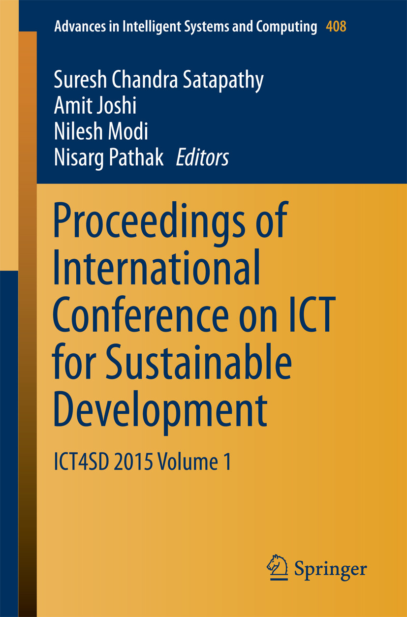 Joshi, Amit - Proceedings of International Conference on ICT for Sustainable Development, ebook