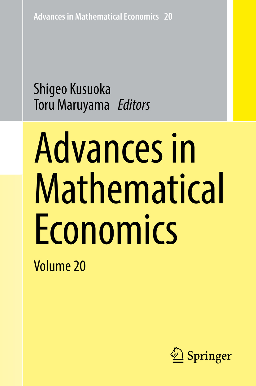 Kusuoka, Shigeo - Advances in Mathematical Economics Volume 20, ebook